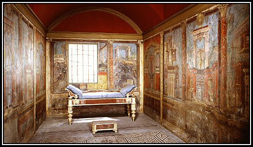 FIG. 109. A CUBICULUM IN A VILLA AT BOSCOREALE, NEAR POMPEII These Frescoes  Are Now In The Metropolitan Museum Of Art, New York, Set Up As They Were In  The ...